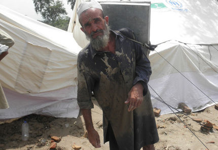 Up to one million older people like Nabi Bakash, 64, could be affected by the floods in Pakistan.   Photo: HelpAge International/ Age UK/ Merlin